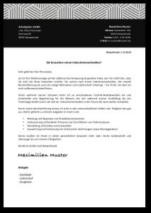 Bewerbung Nach Ausbildung Industriemechaniker Anschreiben Muster Vorlage Cover